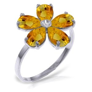 SOLID GOLD RING WITH NATURAL DIAMOND & CITRINES